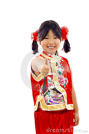 Free Little Asian Girl - Thumbs Up! Royalty Free Stock Photo - 12650585