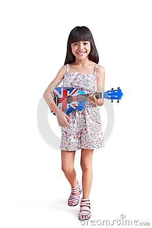 Little asian girl with ukulele
