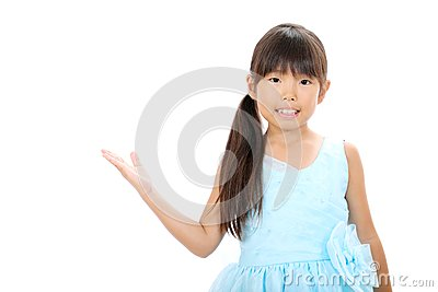 Little asian girl wearing dress