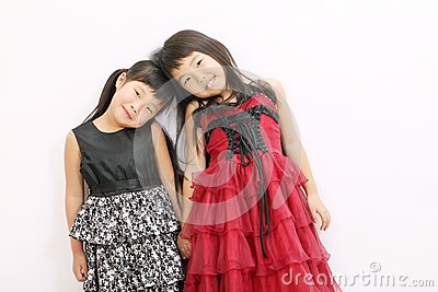 Little asian girls wearing dress