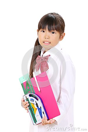 Little asian school girl