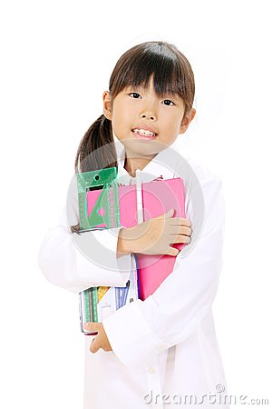 Little asian school girl
