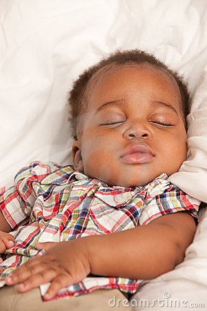 Little Baby African American Boy Sleeping