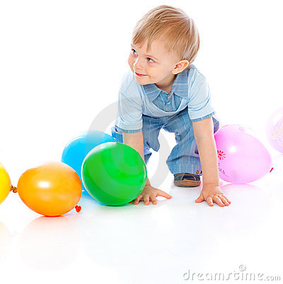 Little baby in balloons