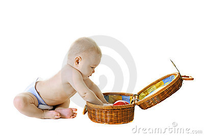 Little baby with basket on white background