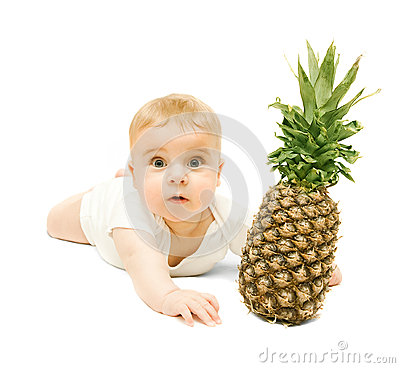 Free Little Baby Boy  And Pineapple Royalty Free Stock Images - 33152759