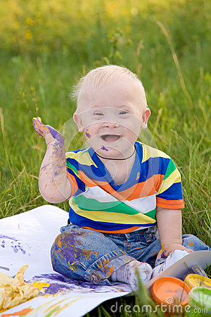 Little baby boy with Down syndrome
