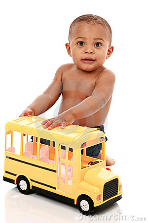 Little Baby Boy Pushing Toy School Bus