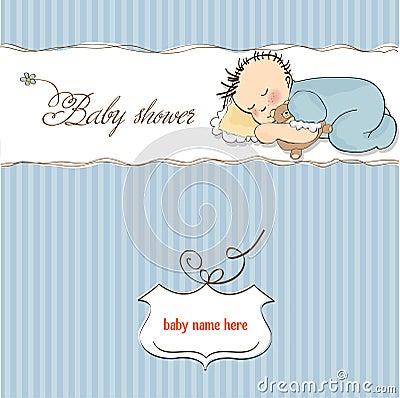Little baby boy sleep with his teddy bear