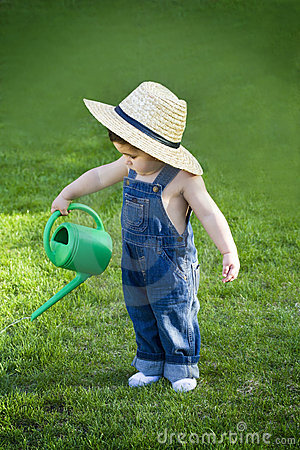 Free Little Baby Gardener Lost In The Moment Stock Images - 20772184