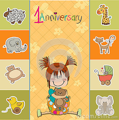 Little baby girl on the first anniversary