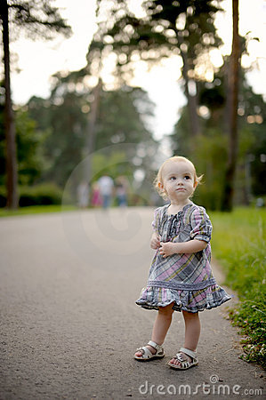 Free Little Baby Girl On The Park Alley Stock Images - 10694654