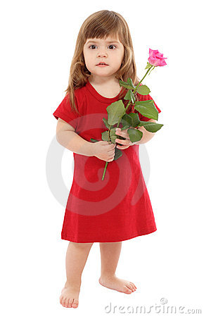 Little baby with pink rose