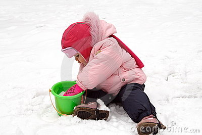 Little Baby Playing with Snow