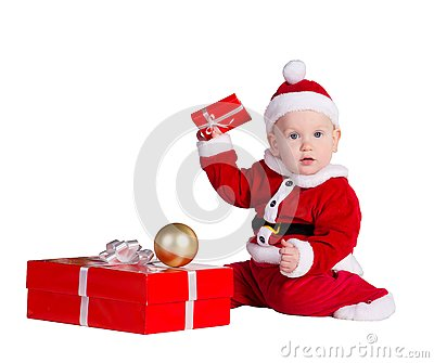 Little baby Santa with Christmes prenets