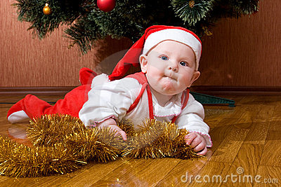 Little baby Santa with gifts