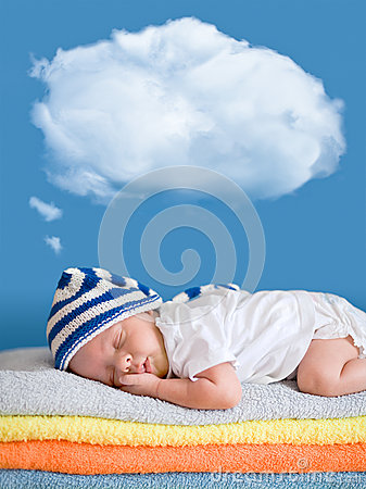 Free Little Baby Sleeping With A Dreaming Balloon Cloud Stock Photography - 26010432