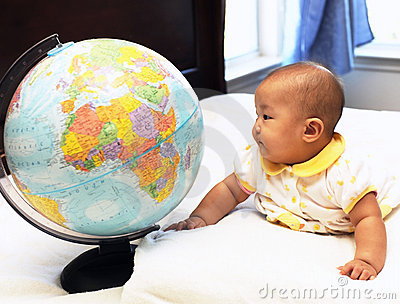 Little baby watches global
