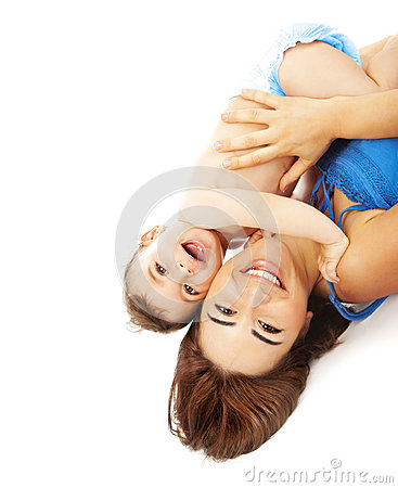 Free Little Baby With Mother Isolated On White Background Royalty Free Stock Photography - 28729377
