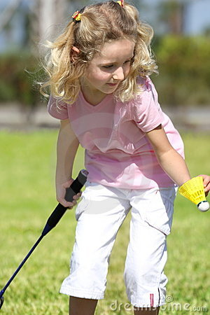 Little badminton player