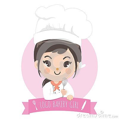 Logo bekery chef cute girl Vector Illustration