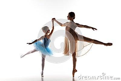 The Little Ballerina Dancing With Personal Ballet Teacher In Dance ...