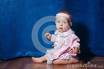 Little ballerina in pink dress