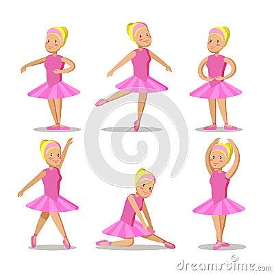 Little Ballerina in Pink Dress Cartoon Characters Set Vector Illustration