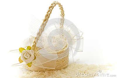 Little basket of rice for wedding