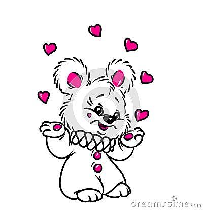 Little Bear juggler heart Valentine card