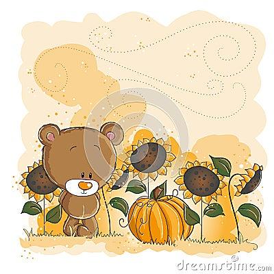 Little bear and pumpkin - Halloween or thanksgivin
