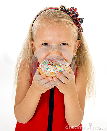Free Little Beautiful Female Child With Long Blonde Hair And Red Dress Eating Sugar Donut  Stock Photos - 61017843