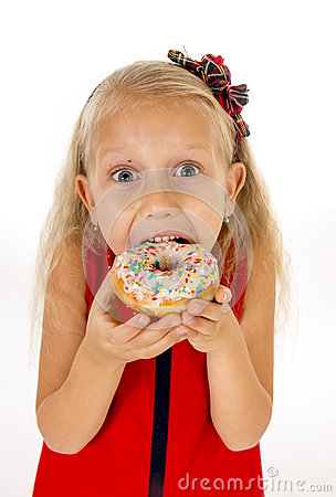 Free Little Beautiful Female Child With Long Blonde Hair And Red Dress Eating Sugar Donut With Toppings Delighted And Happy Royalty Free Stock Images - 61022109