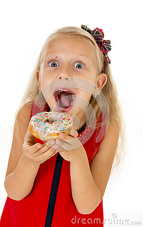 Free Little Beautiful Female Child With Long Blonde Hair And Red Dress Eating Sugar Donut With Toppings Delighted And Happy Stock Photography - 61023412
