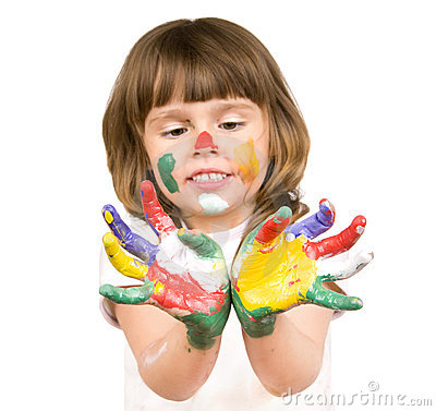 Free Little Beautiful Girl And Paint Royalty Free Stock Image - 10388946