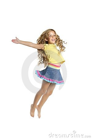 Little beautiful student girl jumping