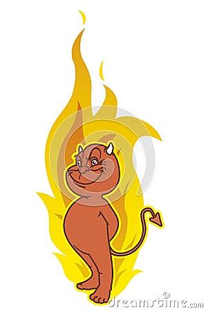 Little big-headed devil involved in flames