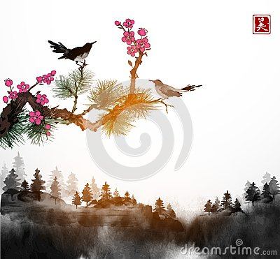 Little bird, pine tree and sakura branches and forest trees in fog. Traditional oriental ink painting sumi-e, u-sin, go Vector Illustration