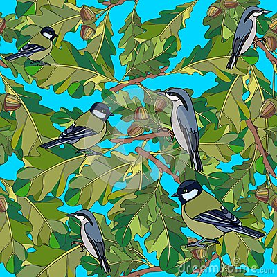 Little birds sing songs. Seamless texture.