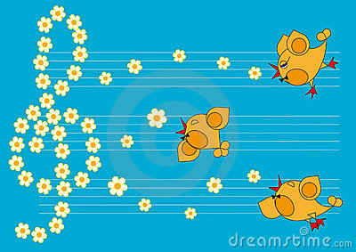 The little birds sing spring songs