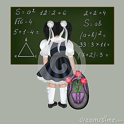 Little black-haired schoolgirl