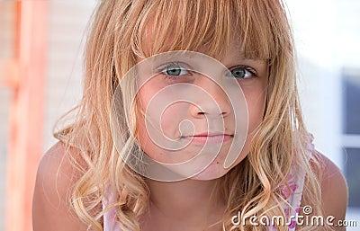 Little blond beautiful girl portrait