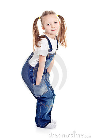 Home > Royalty Free Stock Image: Little blond girl in blue overalls