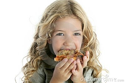 Little Blond  Girl  Eating Pizza Stock Photography - Image: 15995782
