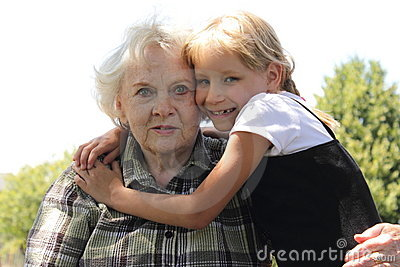 Little Blond Girl Loves Gramma