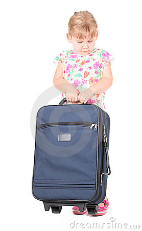Free Little Blond Hair Girl With Suitcase Royalty Free Stock Photography - 20982117