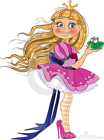 Little blond princess with frog