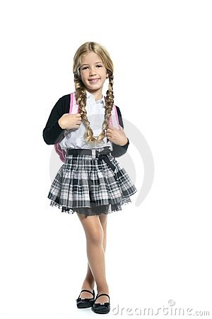 Little blond school girl  with handbag