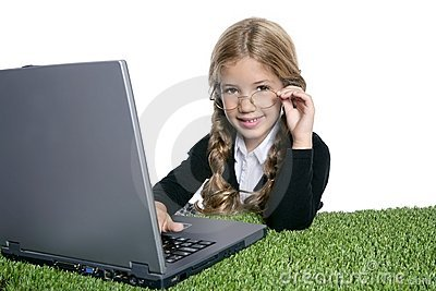 Little blond school girl  with laptop