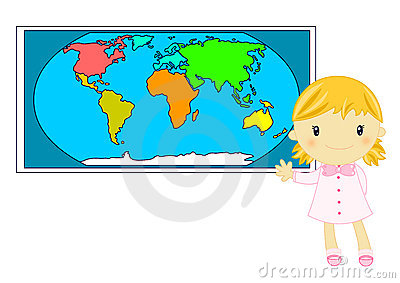 Little blond school girl studiyng geography